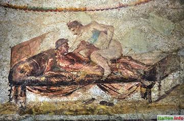 Pompeji: Wandmalerei im Lupanar